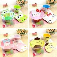 Set of Bowl Plate and Cup PP Cartoon Children Soup Bowl Tableware Food Grade Melamine Anti Knock Kids Bowl