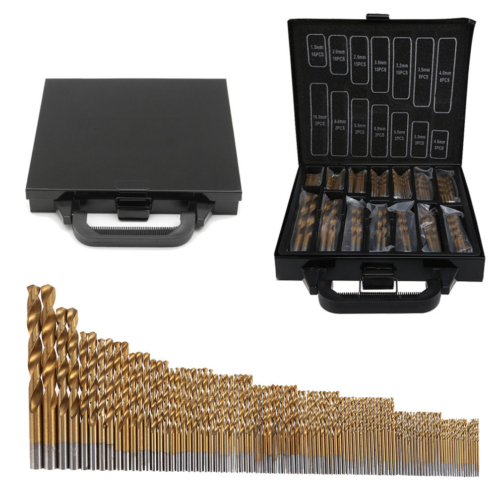 99PCS HSS Twist Drill Bit Set 1.5-10mm Titanium Coated Surface 118 Degree For Drilling Metal DIY Home Use With Box / OPP Packing