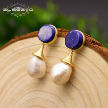 GLSEEVO Natural Baroque Pearl Earrings For Women Drop Earrings Round Lapis Lazuli Fine Jewelry boucle d'oreille femme GE0692 glseevo natural lapis lazuli flower brooch pins and brooches for women accessories birthday gifts dual use luxury jewelry go0183