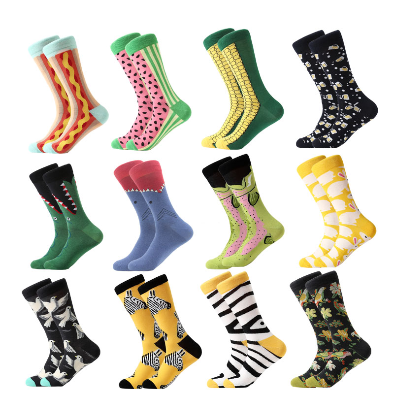 Colorful For Men Socks Harajuku Colorful Happy Funny Skull Egg Avocado Zebra Everyday Cotton Socks For Wedding Christmas Gift