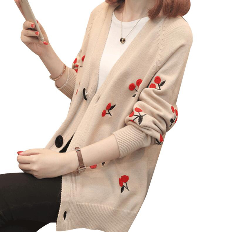 2018 Newest Spring and Autumn women Sweater Cherry Embroidery Cardigan Jacket Fashion Long Sleeve Knitted Sweater Cardigan Coats