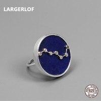LARGERLOF Ляпис кольца изделия стерлингового серебра 925 Синий Fine Jewelry кольцо ручной работы Для женщин Винтаж Круглый кольцо RG57028