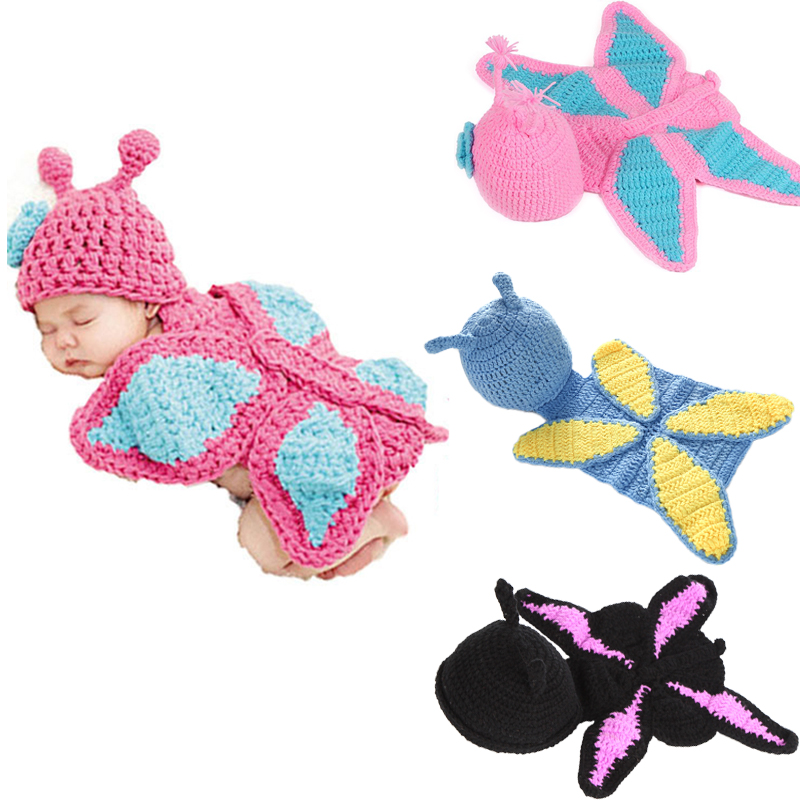 Newborn Baby Woollen Butterfly Clothes Photography Props Bebe Boy Girl Knitted Clothing Sets Infant Handmade Crochet Costumes 3pcs stars war master yoda cartoon hat pants column creative clothes baby set toddlers handmade newborn infant photography props
