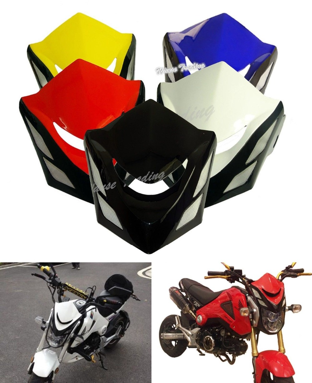 Front Upper Cowl Headlight Headlamp Head Light Lamp Cover Wind Shield Screen White For HONDA Grom MSX 125 MSX125 2013 2014 2015 motorcycle scooter electroplate front headlight headlamp head light lamp small mask cap cover shield large for yamaha bws x 125