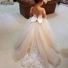 Vestido de baile de encaje de marfil para niños, vestidos de flores para niña, vestidos de satén hinchados con lazo de princesa, vestidos largos de comunión para niña