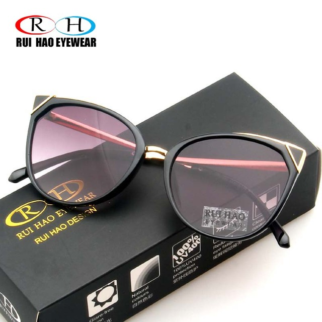 d90747ef96 Rui Hao Eyewear Brand Cat Eye Sunglasses Women UV Goggle Fashion Sun  Glasses Women Eyewear Eyeglasses