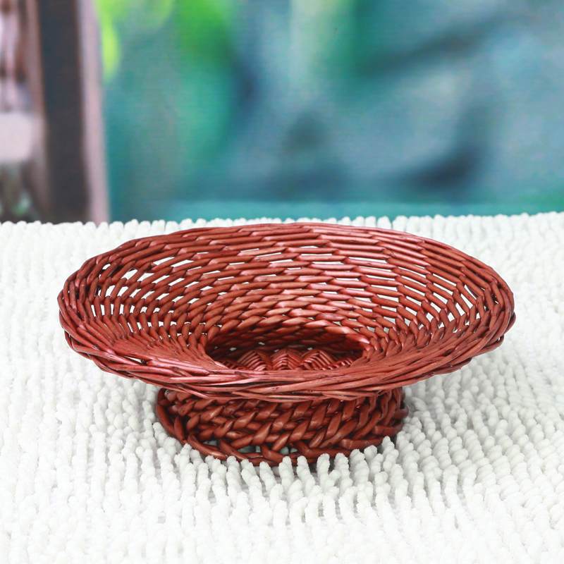 Woven Disc Basket : Wicker baskets of fruit storage basket display disc rattan