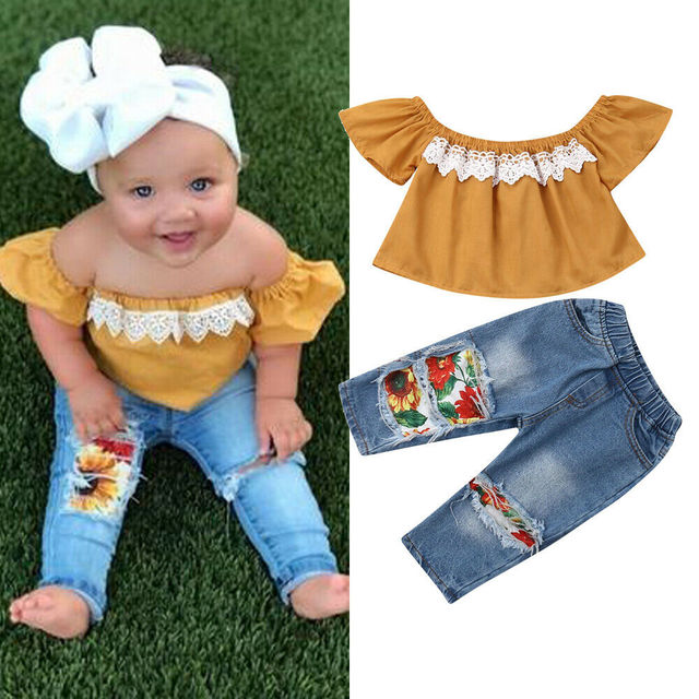 2PCS Toddler Kids New born Baby Girl Clothes Off Shoulder Lace Shirt Tops+Sunflowers Hole Denim Pants Outfits 1-5Y Fast Shipping 1