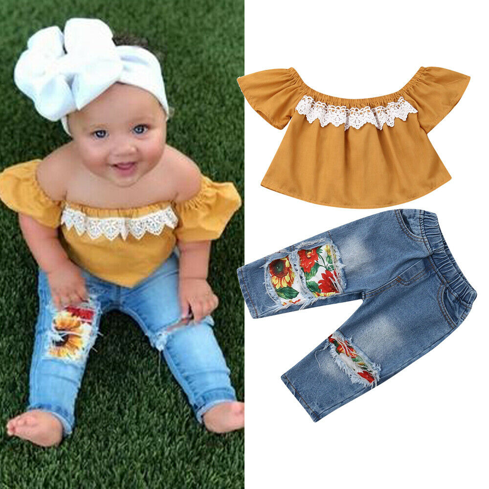 2PCS Toddler Kids New Born Baby Girl Clothes Off Shoulder Lace Shirt Tops+Sunflowers Hole Denim Pants Outfits 1-5Y Fast Shipping