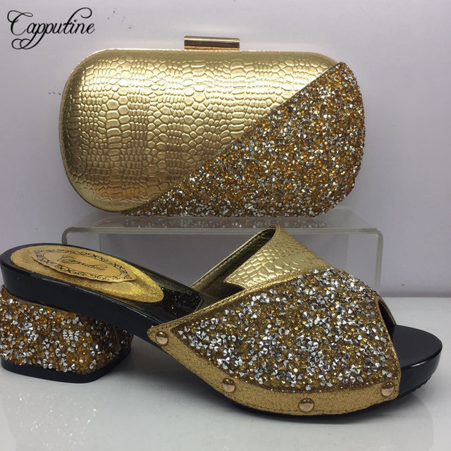 Capputine Latest Design Italian PU With Rhinestone Shoes And Purse African  Style Pumps 5.5CM Shoes With Bag Set For Party BL965C 44d07f87638d