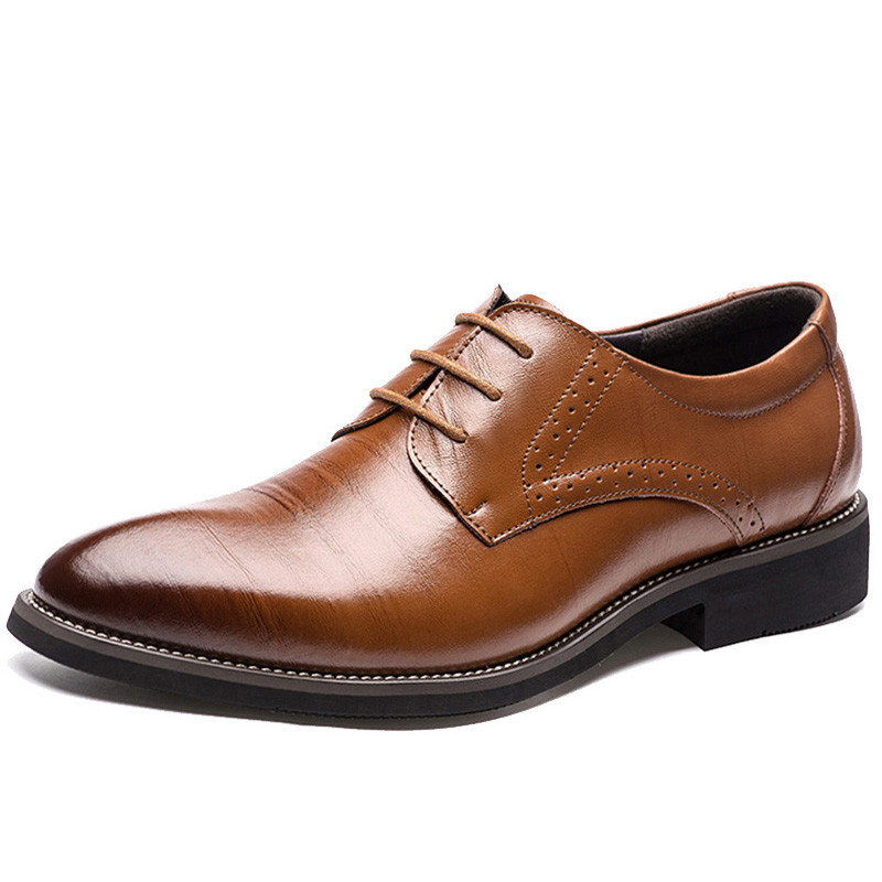 2019 New High Quality Genuine   Leather   shoes Men Brogues Shoes Lace-Up Men Dress Shoes Business Oxfords Male Formal Shoes loafers