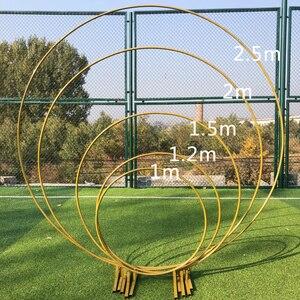 Image 1 - 6 ฟุต 8 ฟุต 2.5 M วงกลมขนาดใหญ่งานแต่งงานวันเกิด Arch ตกแต่งพื้นหลัง Wrought Props เดี่ยว Arch ดอกไม้ประตู Rack สนามหญ้ากลางแจ้ง