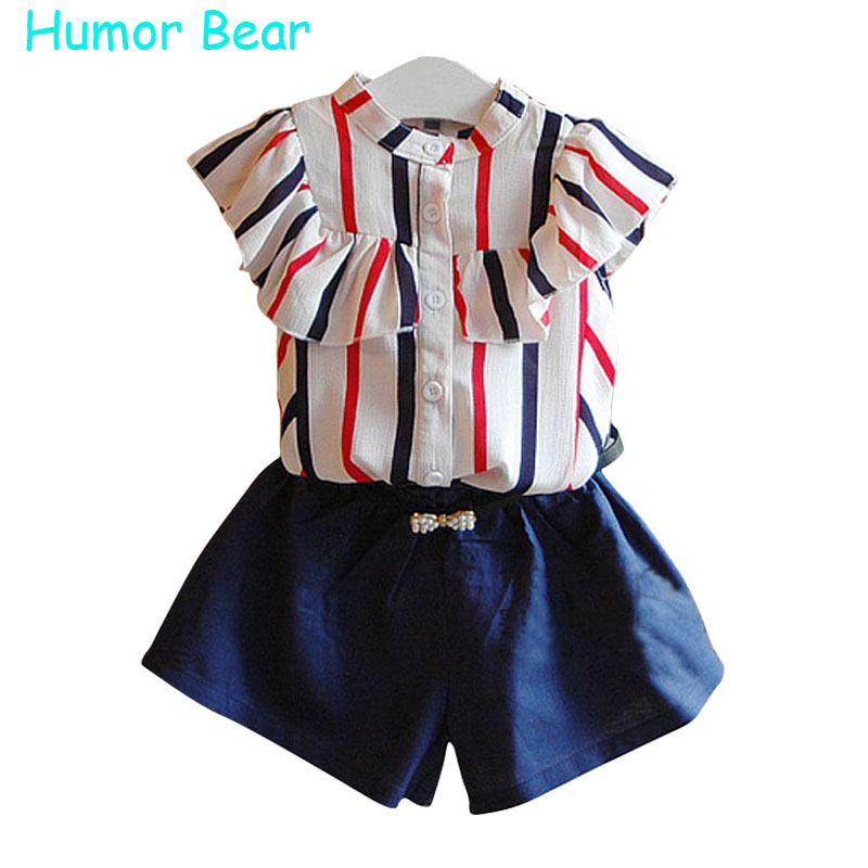 Humor Bear Summer Style Fashion Baby Girl Clothes Children's Clothing Girls Sets Stripe T-shirt+Belt+Pants Suit Girls Clothing