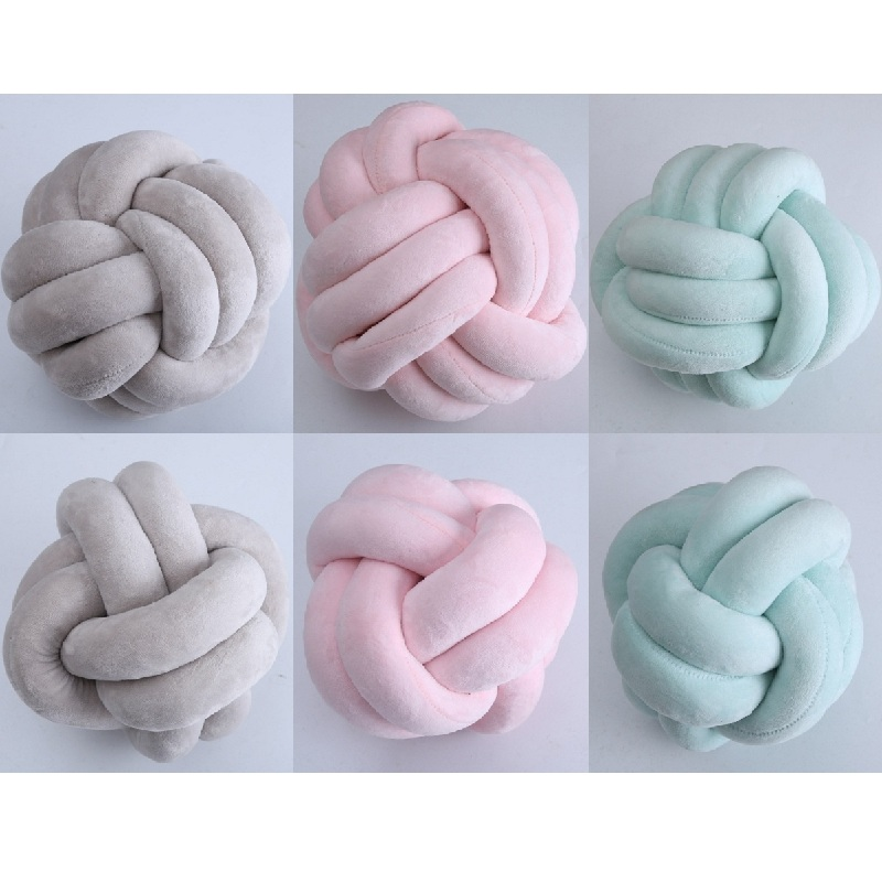 Lovely 3 Colors Knot Ball Cushion Pillow Baby Calm Sleep Dolls Stuffed Toys Kids Bed Room Decor Nordic Style Photo Props mymei white swan dolls mini flamingo stuffed toys appease baby plush toy cushion pillow for babies stroller kids room decor
