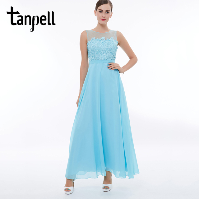 697a0dd94 Tanpell scoop long prom dress ice blue sleeveless ankle length a line  dresses lace zipper up women party graduation prom gown