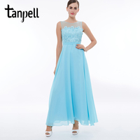 Tanpell scoop uzun balo elbise buz mavi kolsuz ayak bileği uzunluk bir çizgi elbiseler dantel fermuar up kadınlar parti mezuniyet balo kıyafeti