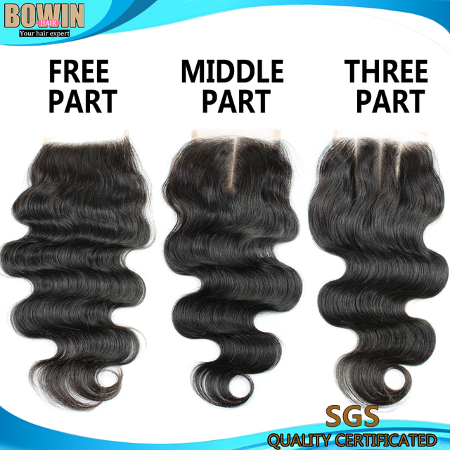 Brazilian Lace Closure Virgin Hair Body Wave, Bleached Knots Middle Part, Free Part  or Three Part Lace Closure Natural Color