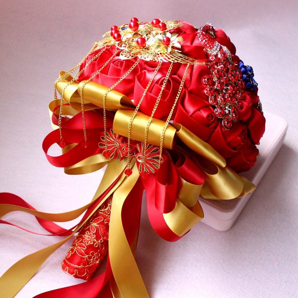 Bouquets de mariage artificiels de Style chinois fait à la main fleur strass demoiselle d'honneur cristal mariée mariage Bouquet de mariage