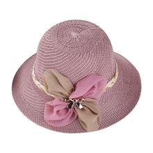 177d3efc Women Summer Straw Sun Hat Bowknot Decoration Ribbon Wide Brim Cap Knitted  Beachwear(China)