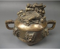 Chinese Asian Antique Dragon Bronze Censer Free Shipping