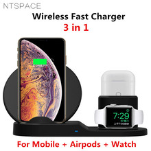 10W Qi Wireless Charger Stand For iPhone 8 Plus X XS MAX XR 3 in 1 Wireless Fast Charging Pad Dock For Apple AirPods Apple Watch carprie qi fast 3 ports wireless charger holder stand charging dock for iphone x apple pencil airpods 20a drop shipping