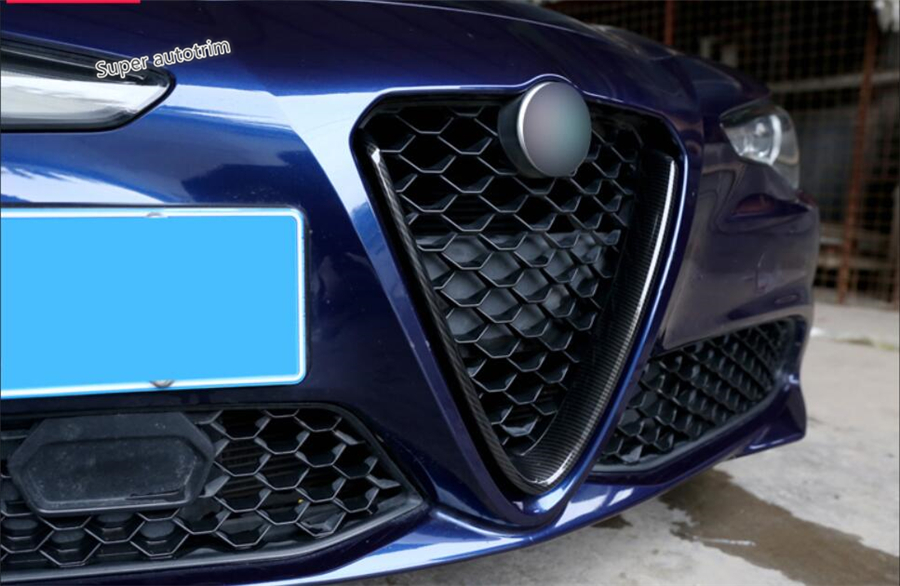 Lapetus Accessories Exterior Front Head Grille Grill Cover Trim For Alfa Romeo Giulia 2016 2017 2018 2019 2020 Carbon Fiber ABS image