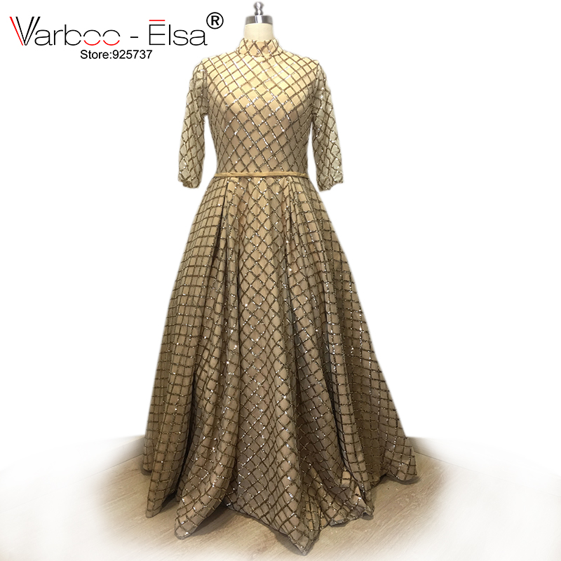 37251f192 VARBOO_ELSA 2018 arabic long evening gowns real sample gold Tulle prom dress  half sleeve High collar Sequins party formal gown