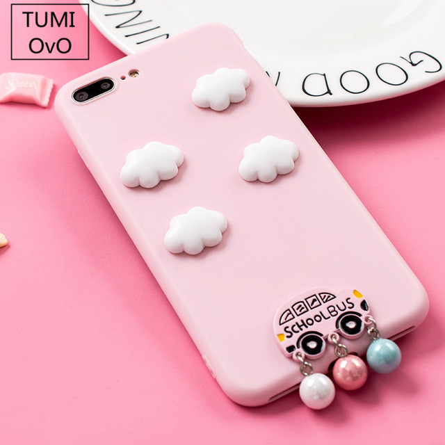 d557a7580c OvO Cute 3D Clouds for iPhone X Case Candy Pink Color Soft Silicone Cover  for iPhone 6 6S 7 8 Plus Capa t Bus Pearl Pendant