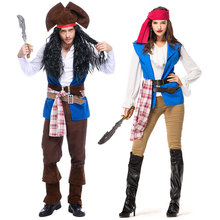 Umorden Pirates of the Caribbean Costumes for Women Men Couples Deluxe Captain Jack Sparrow Costume Halloween Carnival Outfits