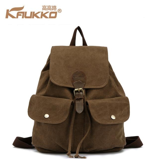 KAUKKO Vintage Canvas Backpacks Mens Rucksacks Casual Drawstring Rucksack  Khaki