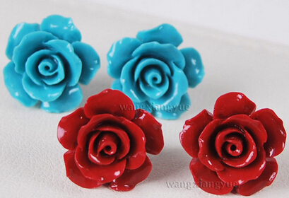 2pairs Red/Blue Coral Hand Carved Flower Earrings Silver