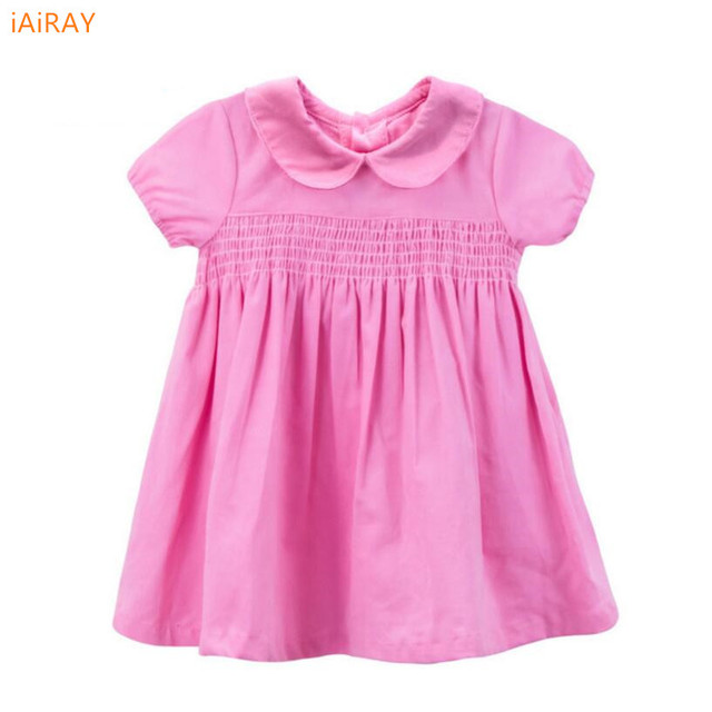 2017 new arrival baby clothes pink casual loose summer dress girl peter pan collar yellow cotton dress kids dresses for girls