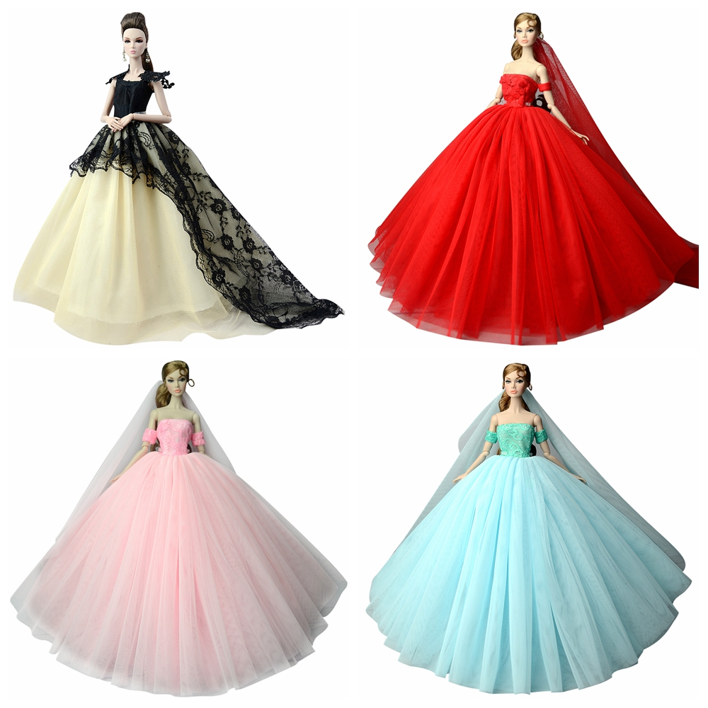 NK Doll Dress High quality Handmade Long Tail Evening Gown Clothes Lace  Wedding Dress For Barbie 1 6 Doll Best Gift 1AJJ 30c50d7b20bb