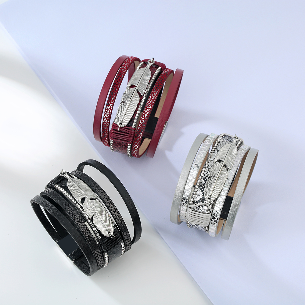 17 Fashion Alloy Feather Leaf Wide Magnetic Leather Bracelets & Bangles Multilayer Wrap Bracelets for Women Men Jewelry 12
