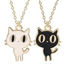 DIY Cartoon Fashion Animal Charm Pendant Kawaii Small Black White Cat Necklace Womens Girl Gift Collar Jewelry Bijoux Femme