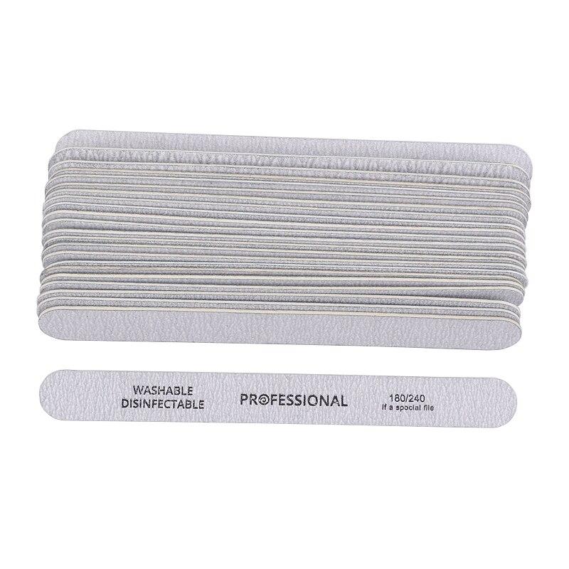 50PCS Gray Wooden Nail Art Sanding Buffer Nail Files 180/240 Girt Sandpaper UV Gel Polisher Manicure Pedicure Nail Tools Salon