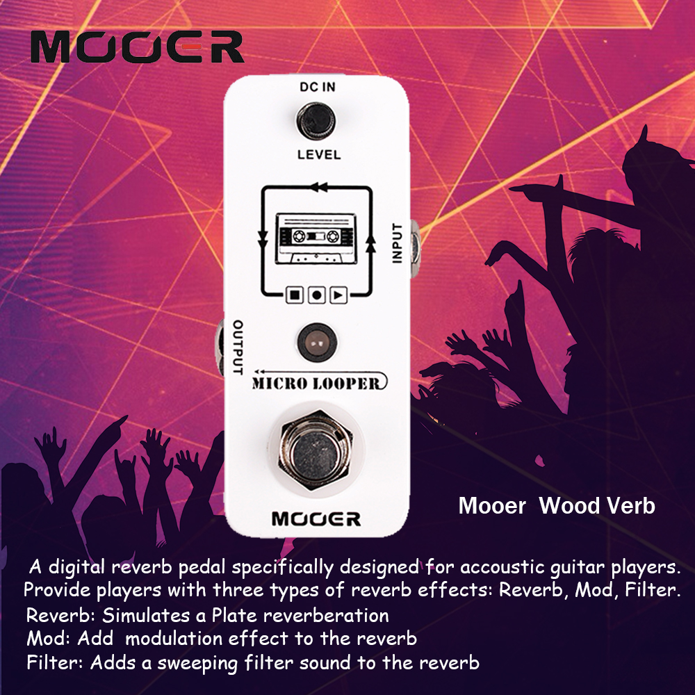 Mooer Single Footswitch Micro Looper Recording Guitar Effect Pedal True Bypass Musical Instruments mooer ensemble queen bass chorus effect pedal mini guitar effects true bypass with free connector and footswitch topper