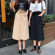 2019 Summer Fashion Casual Women Solid Color Sashes Skirts High Waist A-Line Pocket Casual Midi Skirt For Women Preppy Style stylish high waisted solid color a line midi skirt for women
