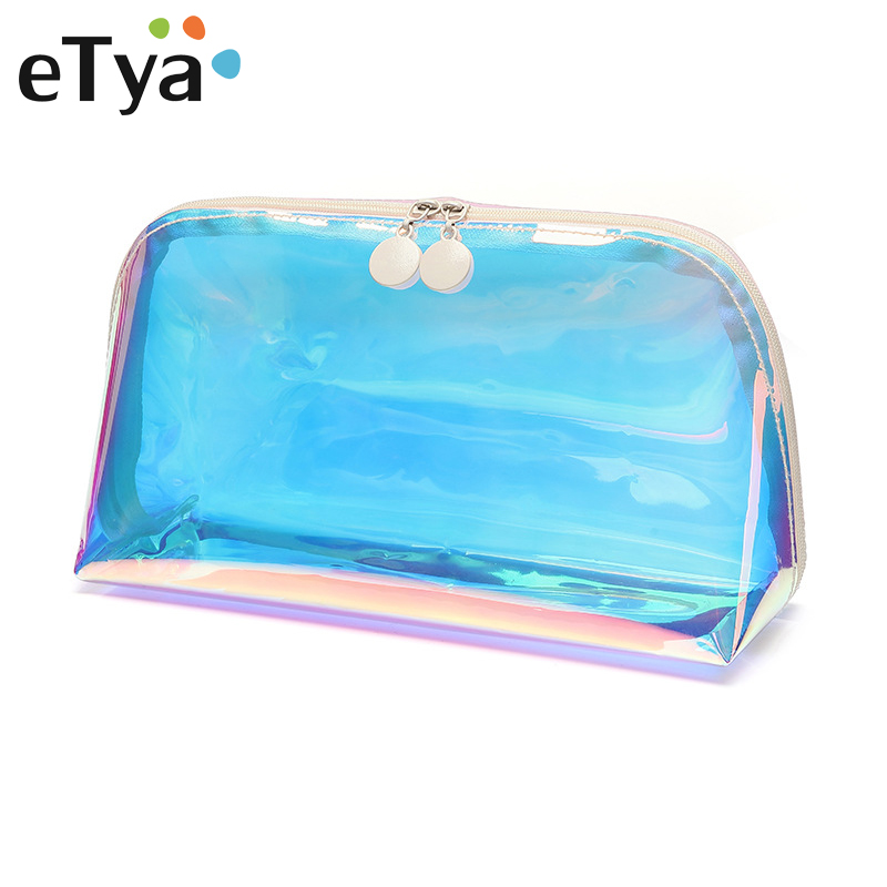 ETya Transparent PVC Travel Cosmetic Bag Organizer Waterproof Laser Makeup Bag Beauty Toiletry Bath Wash Bag Case Zipper Pouch