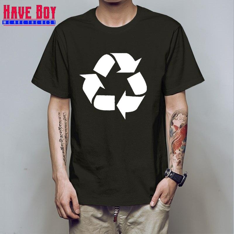HAVE BOY Big Bang Theory T-shirt Leonard Recycling logo print t shirts men geek TBBT tshirt Plus Size Cotton Printed HB135