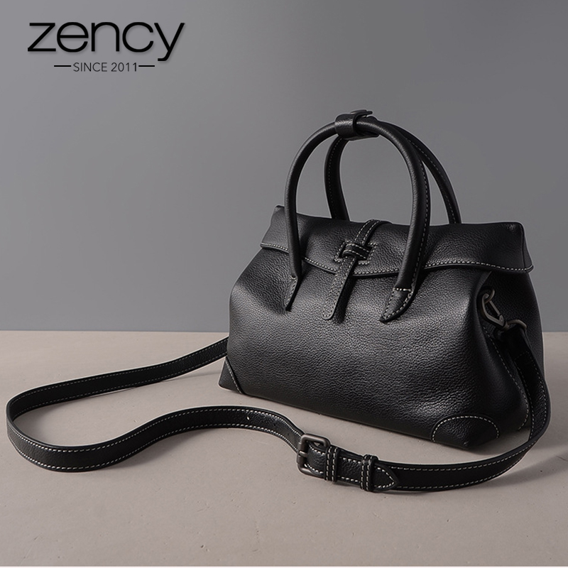 Zency Women Handbag 100% Cowhide Genuine Leather Fashion Simple Ladies Casual Tote Business Female Crossbody Bag Bolsos Mujer luxy moon women bag genuine leather composite bag women s handbag fashion casual cowhide larger tote female shoulder bag zd705