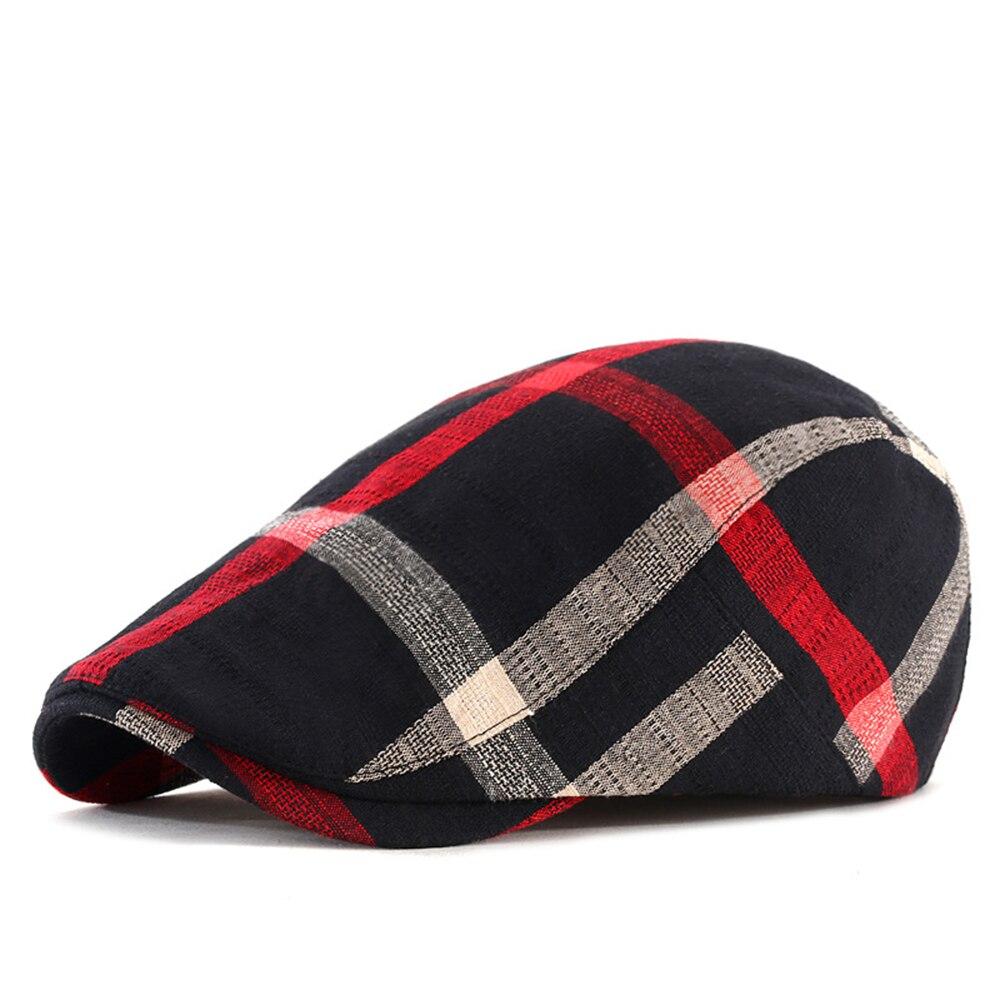 1pc Berets Hats Striped Grid Caps Women Men Breathable Casual British Style Bonnet Cotton Linen  Wholesale Sports Outdoors Cap