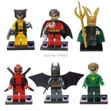 2014 New Super Heroes 6pcs minifigures The avengers Loki wollverine robin deadpool batman green lantern building block dolls