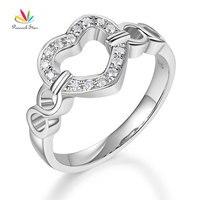 Peacock Star 14K White Gold Heart Women Wedding Band Anniversary Promise Ring 0.1 Ct Diamond