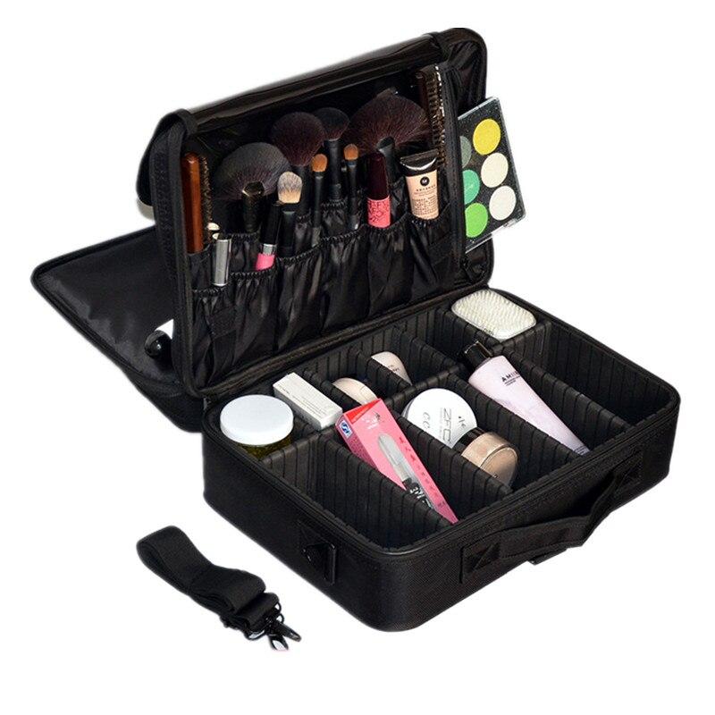 L taille esthéticienne boîte de maquillage épaule professionnel sac cosmétique cas organisateur de voyage nécessaire toilette bagages accessoires