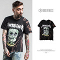 FORGIVENESS 2017 spring and summer tide brand new men's tie-dye smoking skeleton men  cotton short sleeve T shirt metallica