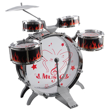 HOT-1 Set Kids Drum Kit Musical Band Playset Chair Cymbal Children Kids Toy Gift, Black