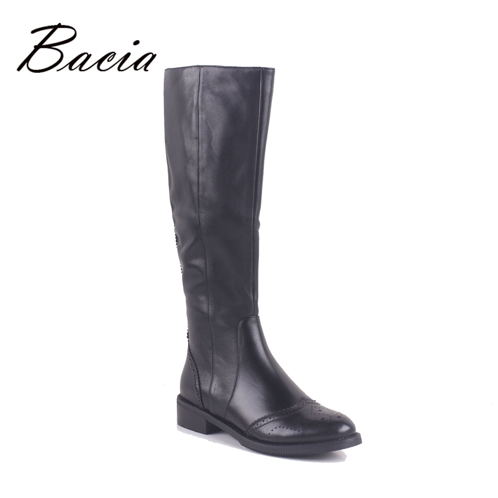 Bacia Winter Boots Wool Fur&Short Plush Inside Warm Shoes Woman Full Grain Leather Handmade Heels 3.5cm Russia Boots MC020