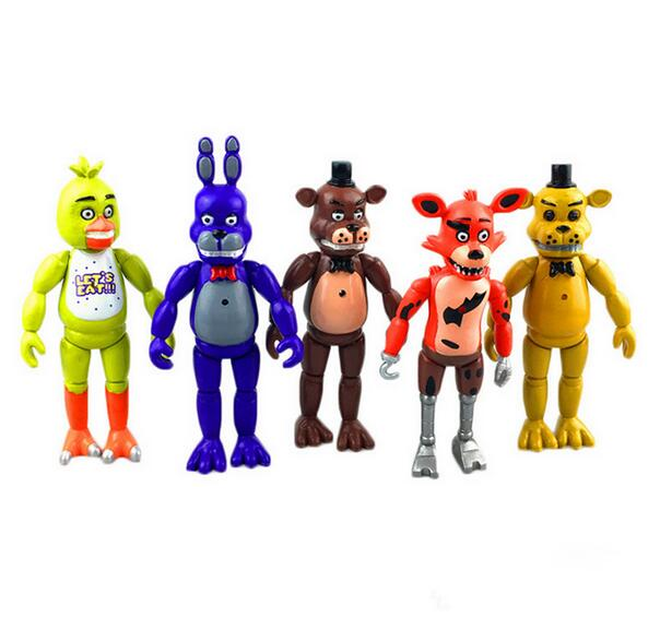 5 Pcs/ lot 5.5 Inch Five Nights At Freddy's PVC Action Figure Toy Foxy Gold Chica Freddy With 2 Color LED Lights