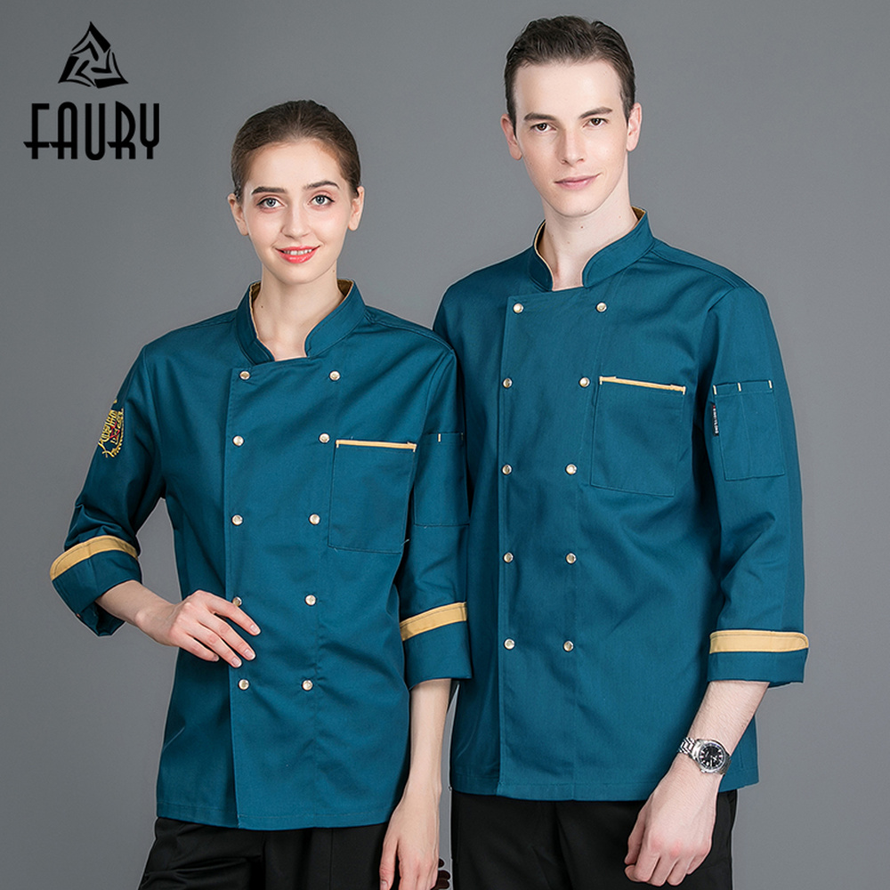 Unisex Splicing Color Long Sleeve High Quality Wholesale Restaurant Catering Kitchen Hotel Chef Waiter Work Uniform Cook Jackets